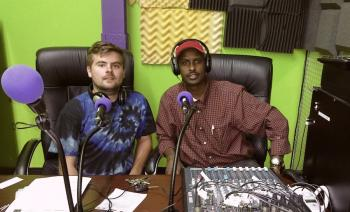 Will and Mahamed in the KALY studio, new LPFM in Minneapolis
