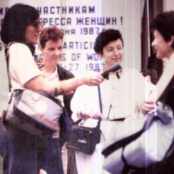 Nan Rubin (with mic) and HeleneRosenbluth doing interviews in Moscow for the awa